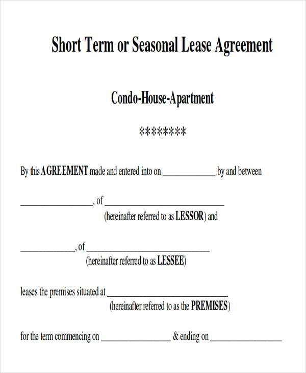 Sample Short-Term Rental Agreement - 9+ Examples In Word, Pdf