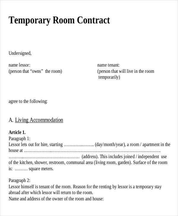 Sample ShortTerm Rental Agreement   Examples In Word Pdf