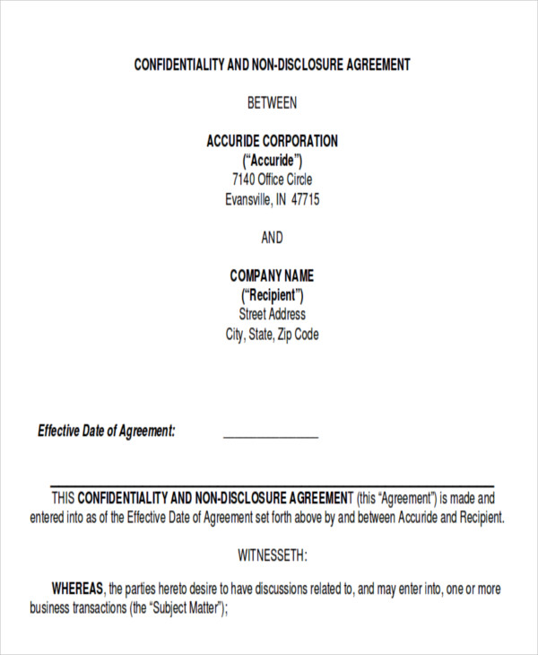 Sample Data Confidentiality Agreement - 10+ Examples In Word, Pdf