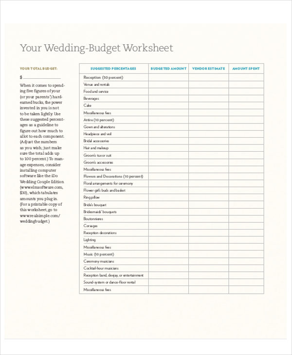Wedding Budget Worksheet Printable: 7+ Wedding Planner Printable Sample