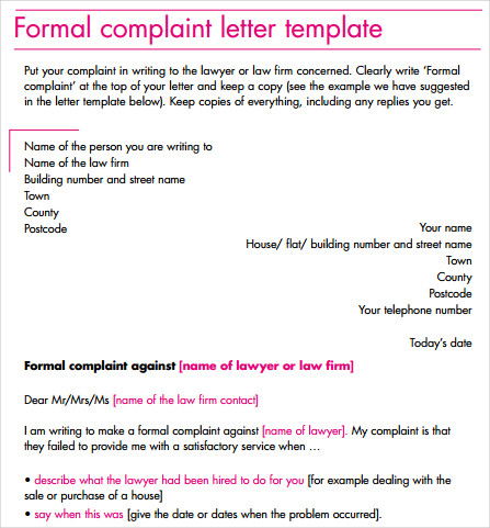 addressing a formal complaint letter