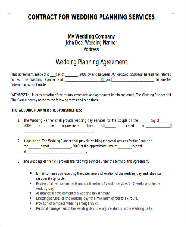 contract for wedding planning services doc