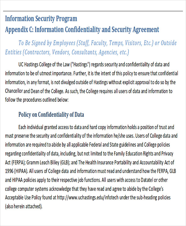 data entry confidentiality agreement