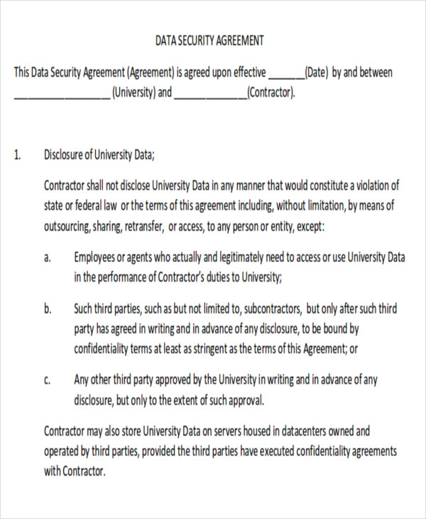 Sample Data Confidentiality Agreement   Examples In Word Pdf