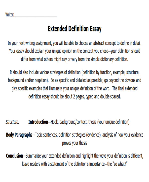 extended definition paper For extended definition texts: - offers further insight into the definition of the word or idea - states the author's opinion on the word or idea write an introduction paragraph to an essay defining ice cream what does ice cream mean to you.