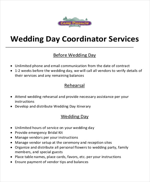 wedding event planner contract sample