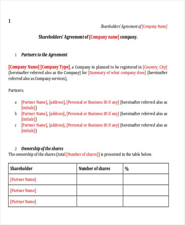10 sample shareholder agreements sample templates. Black Bedroom Furniture Sets. Home Design Ideas
