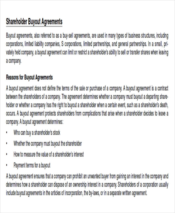 10 sample shareholder agreements sample templates for Shareholder buyout agreement template