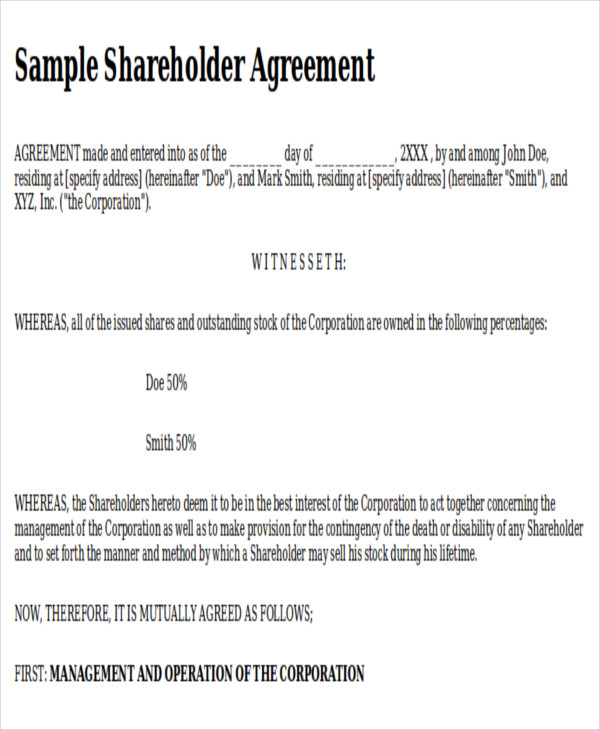 10 Sample Shareholder Agreements Sample Templates