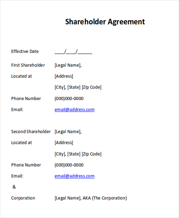sample shareholder agreement
