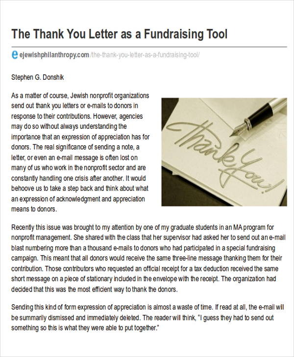 Sample Nonprofit ThankYou Letter   Examples In Word Pdf