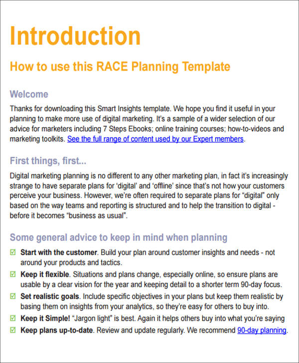 Sample Digital Marketing Plan  Examples In Word Pdf
