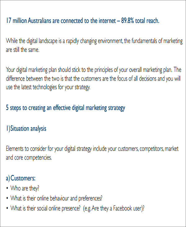 12 sample digital marketing plan sample templates for Digital marketing campaign planning template