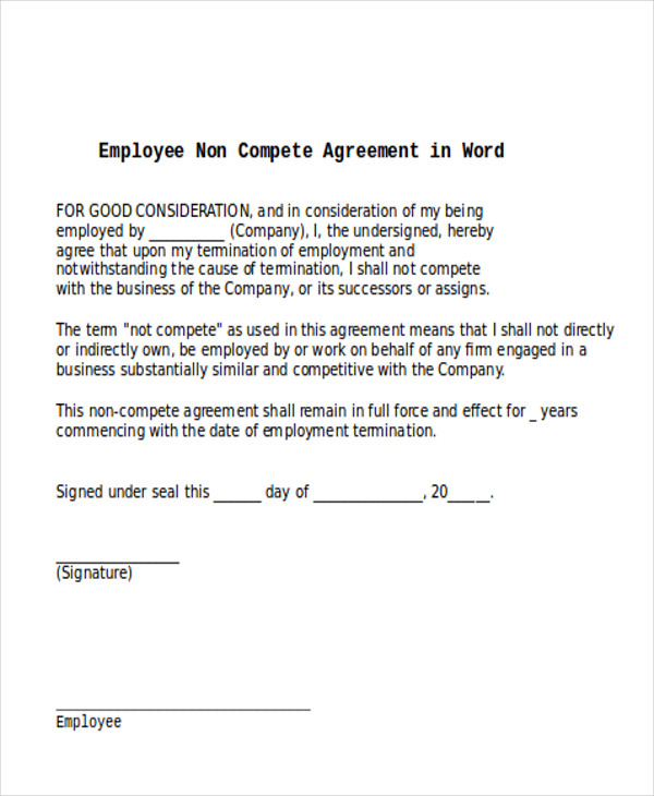 11 Sample Word Non Compete Agreements