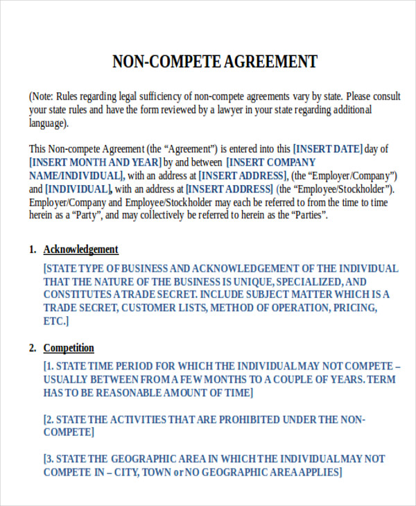 Sample Word NonCompete Agreement   Examples In Word