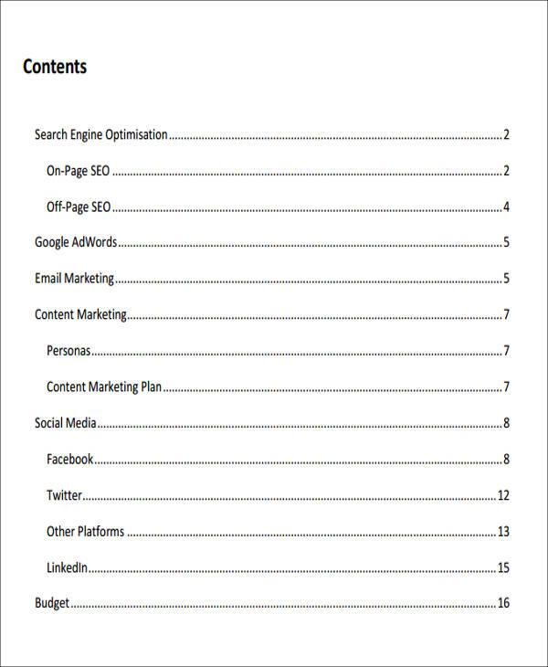 free digital marketing plan sample pdf