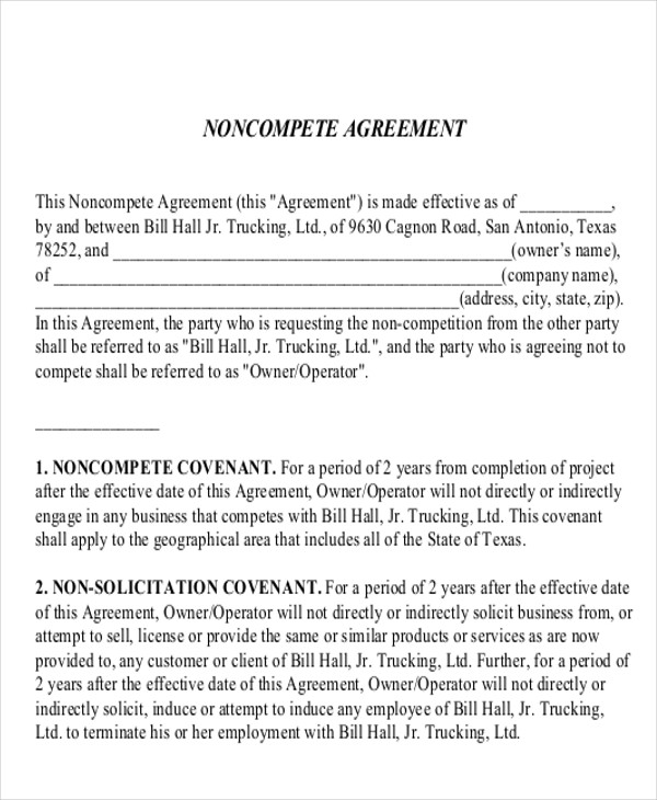 standard non compete agreement example