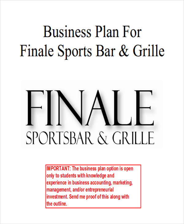 Sample sports bar business plan