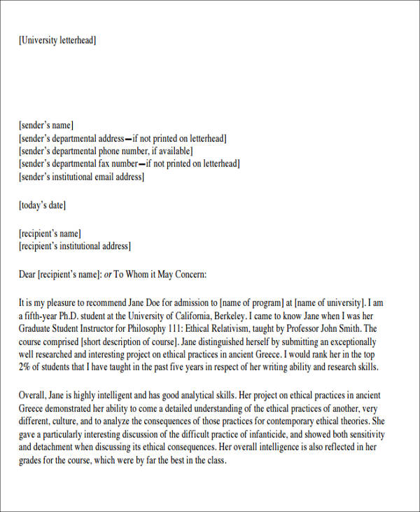 Sample Formal Letter of Recommendation - 8+ Examples in Word ...