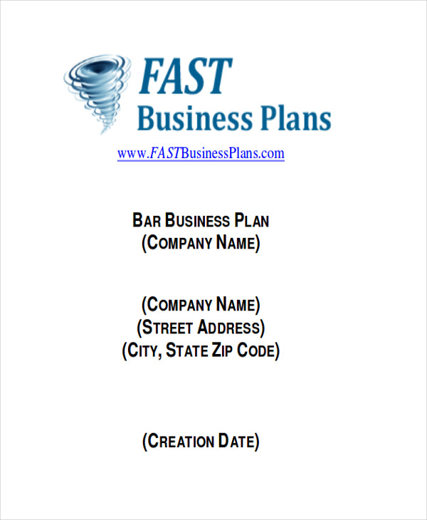 Sample Bar Business Plans  Examples In Word Pdf