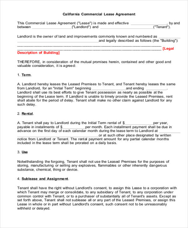 Sample Rental Lease Agreement Form 6 Examples in Word PDF – Free Printable Rental Lease Agreement