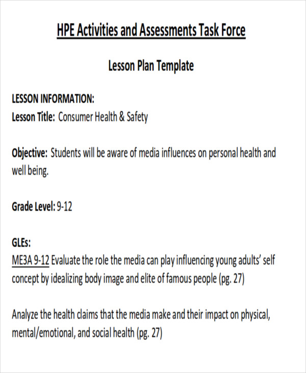 Sample Health Lesson Plan   Examples In Word Pdf