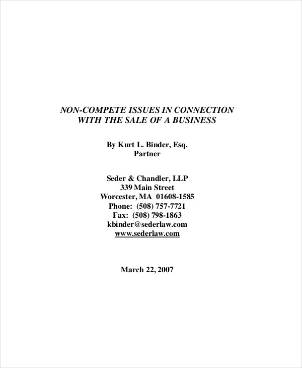 business non compete agreement format