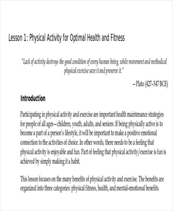 physical health lesson plan pdf
