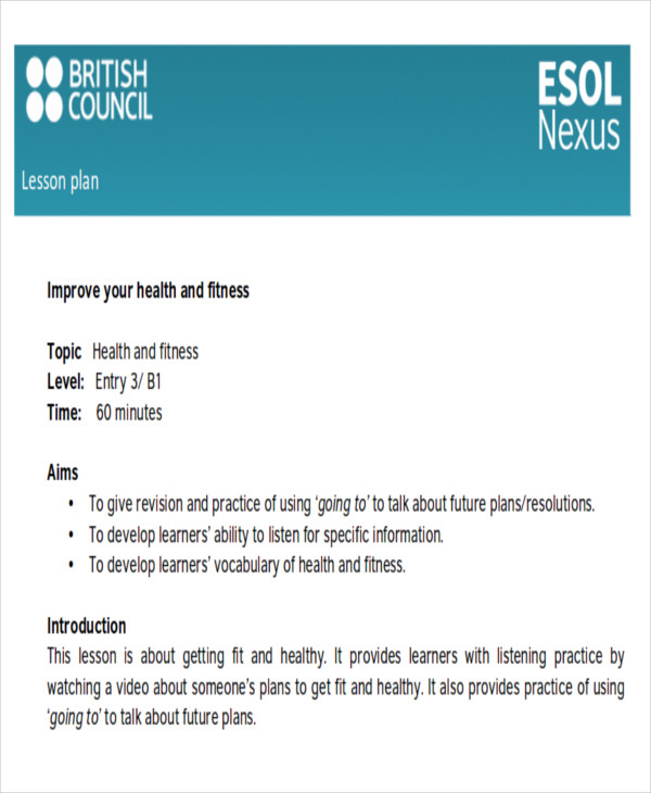 7 sample health lesson plans sample templates for British council lesson plan template