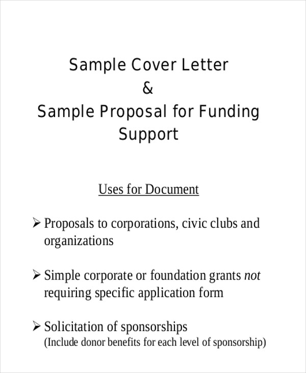 Sample Sponsorship Proposal Letter 9 Examples in Word PDF – Sponsorship Proposal Cover Letter