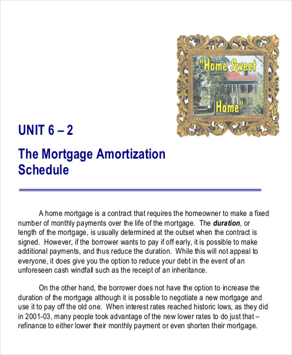 mortgage payment amortization spreadsheet