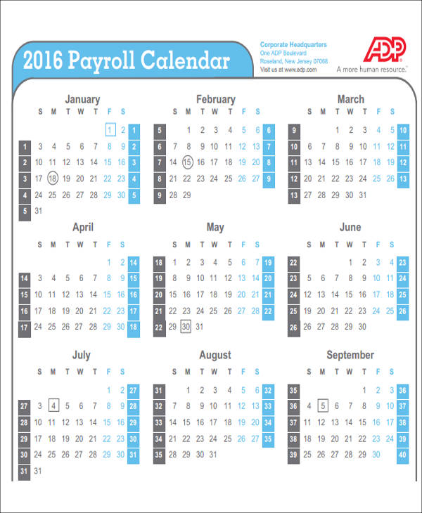 sample payroll weekly calendar