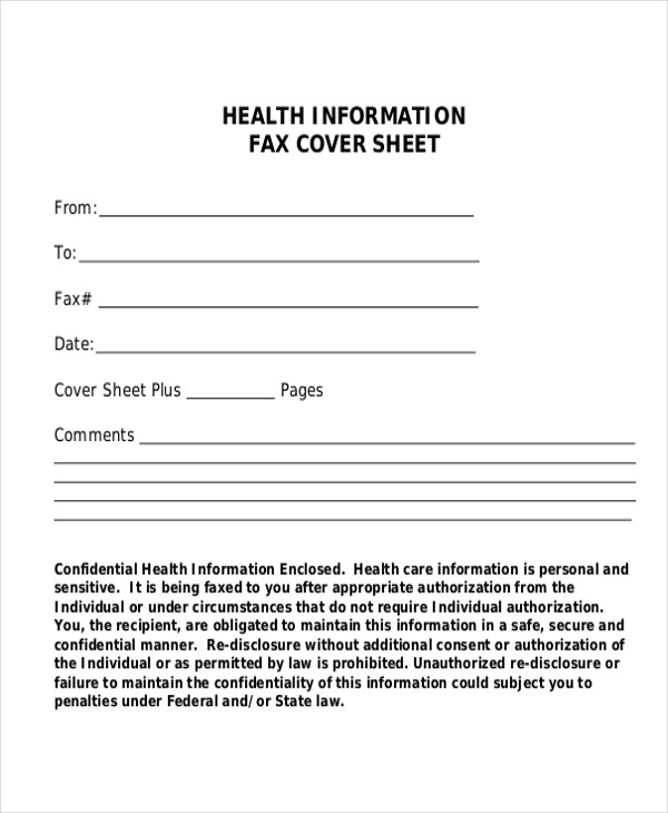 medical fax cover sheet in word