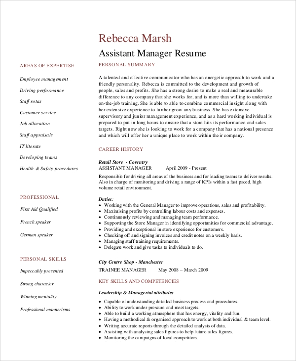 Free 8 Sample Retail Management Resume Templates In Ms Word Pdf