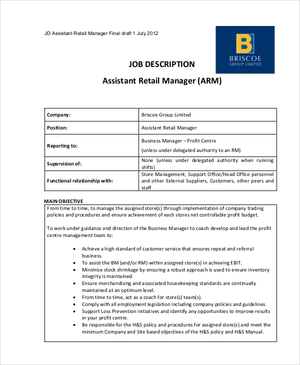 retail management job description for resume