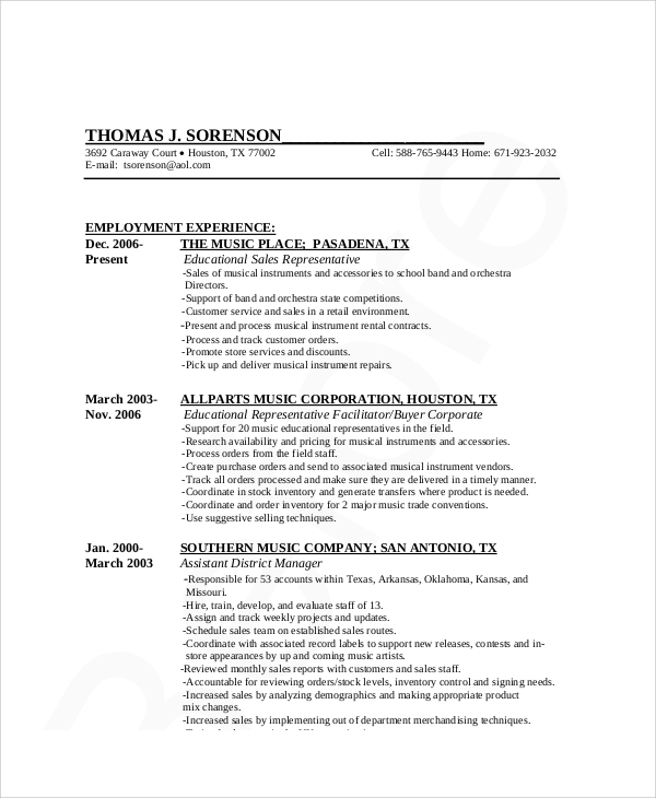 retail sales management resume format