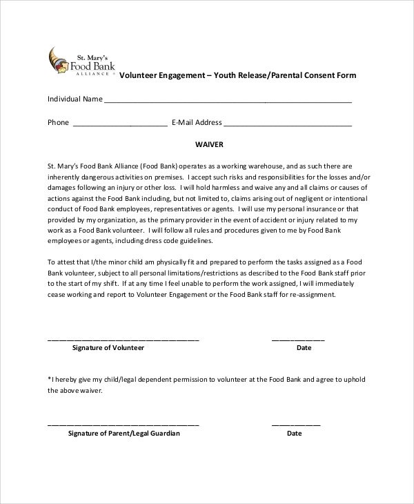 oregon food bank release form