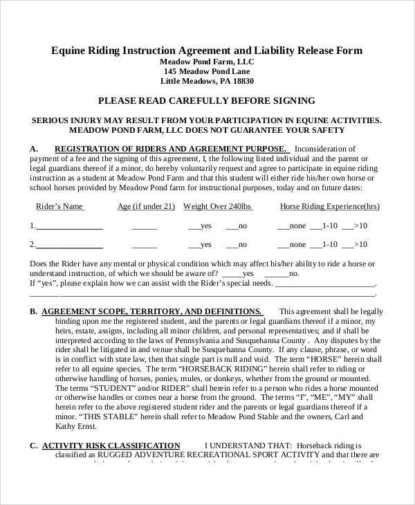 Sample Equine Release Form   Examples In Word Pdf