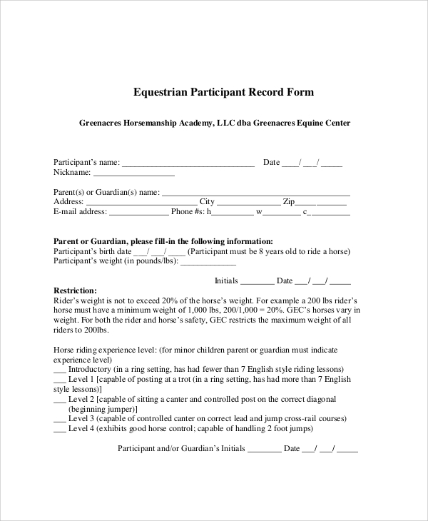 equine release form in pdf