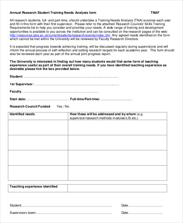 research needs analysis form