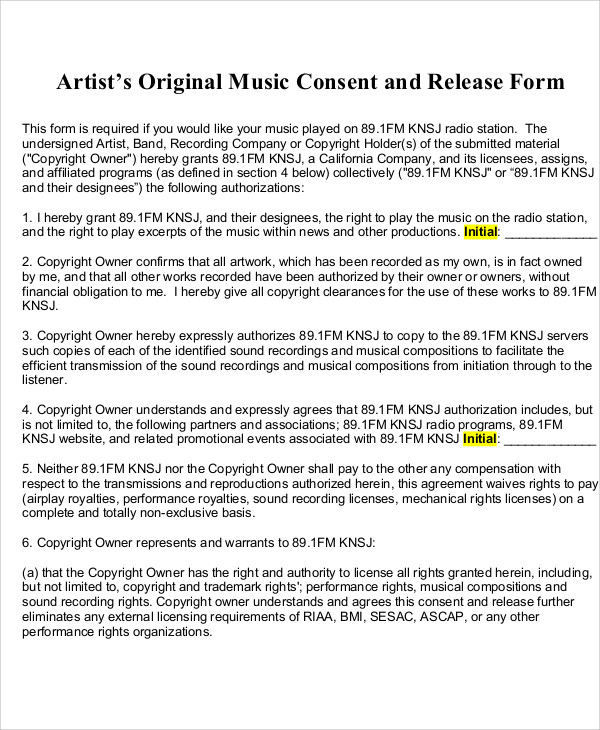 Sample Artist Release Form   Examples In Word Pdf