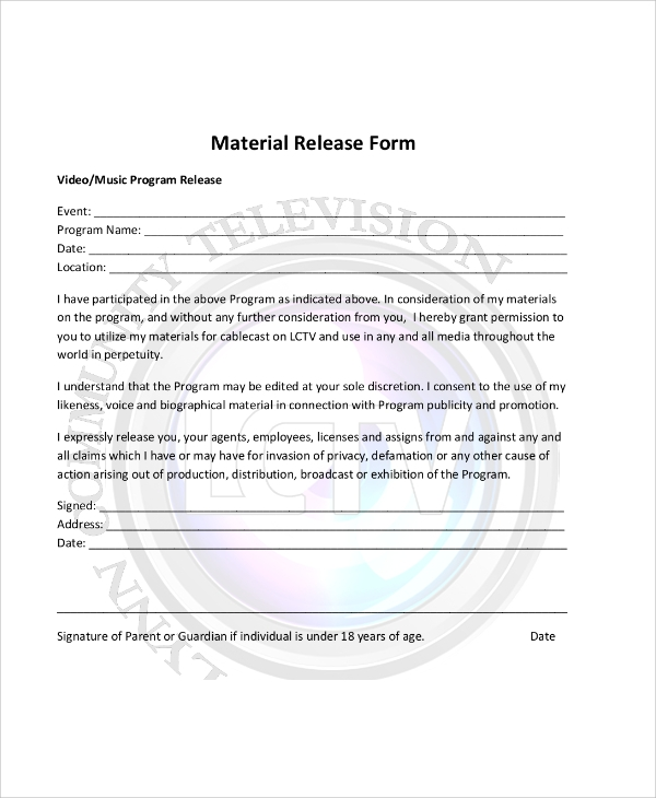 Sample Material Release Form - 8+ Examples In Word, Pdf