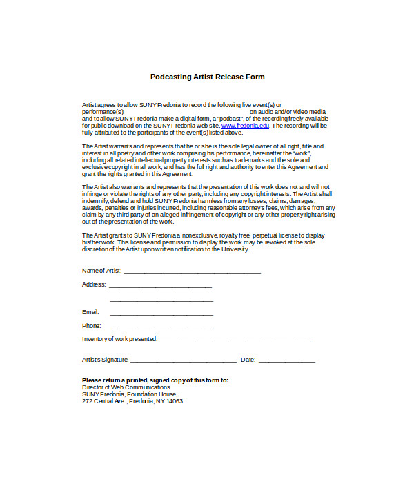 podcasting artist release form