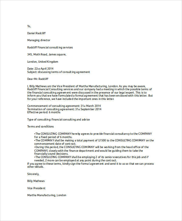 32  sample agreement letters