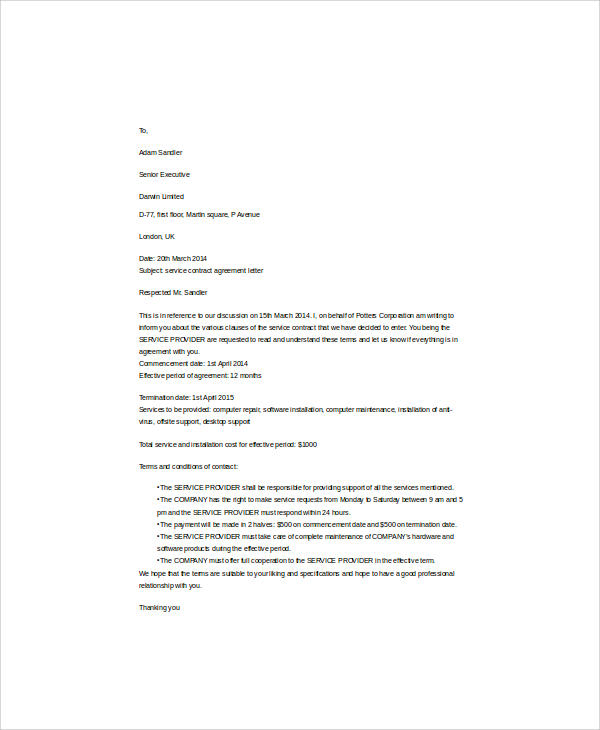 service contract letter of agreement