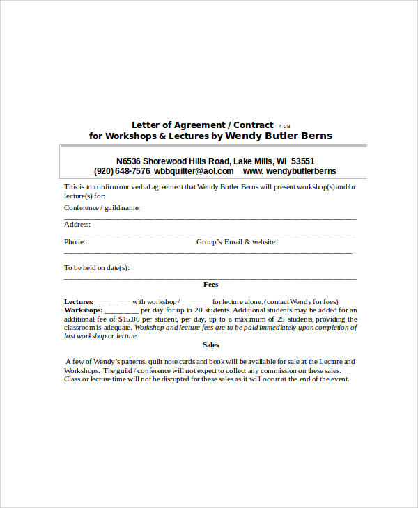 31+ Sample Agreement Letters