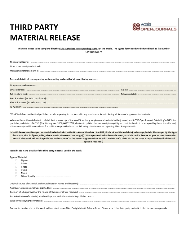 third party material release form