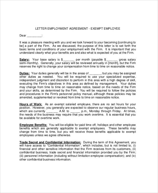 31 sample agreement letters sample templates for Statement of terms and conditions of employment template