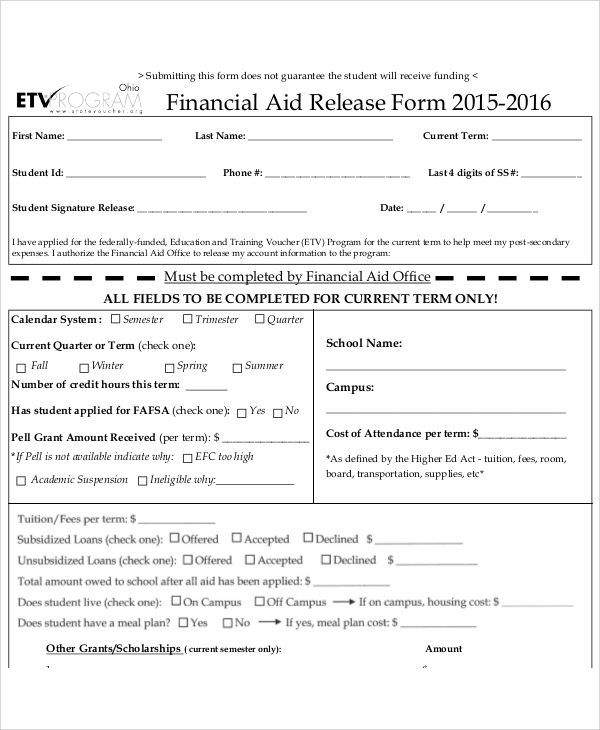 sample financial aid release form