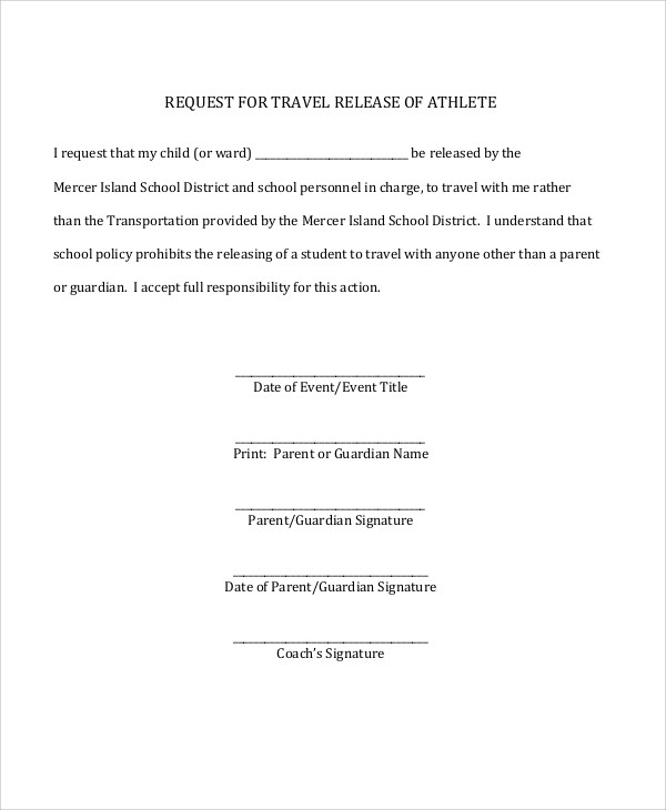 parent travel release form